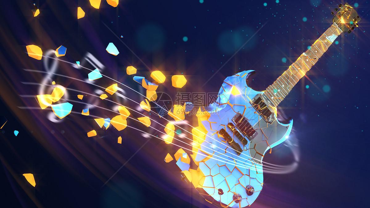 炫酷吉他音乐背景图片素材_免费下载_c4d,psd图片格式_vrf高清图片