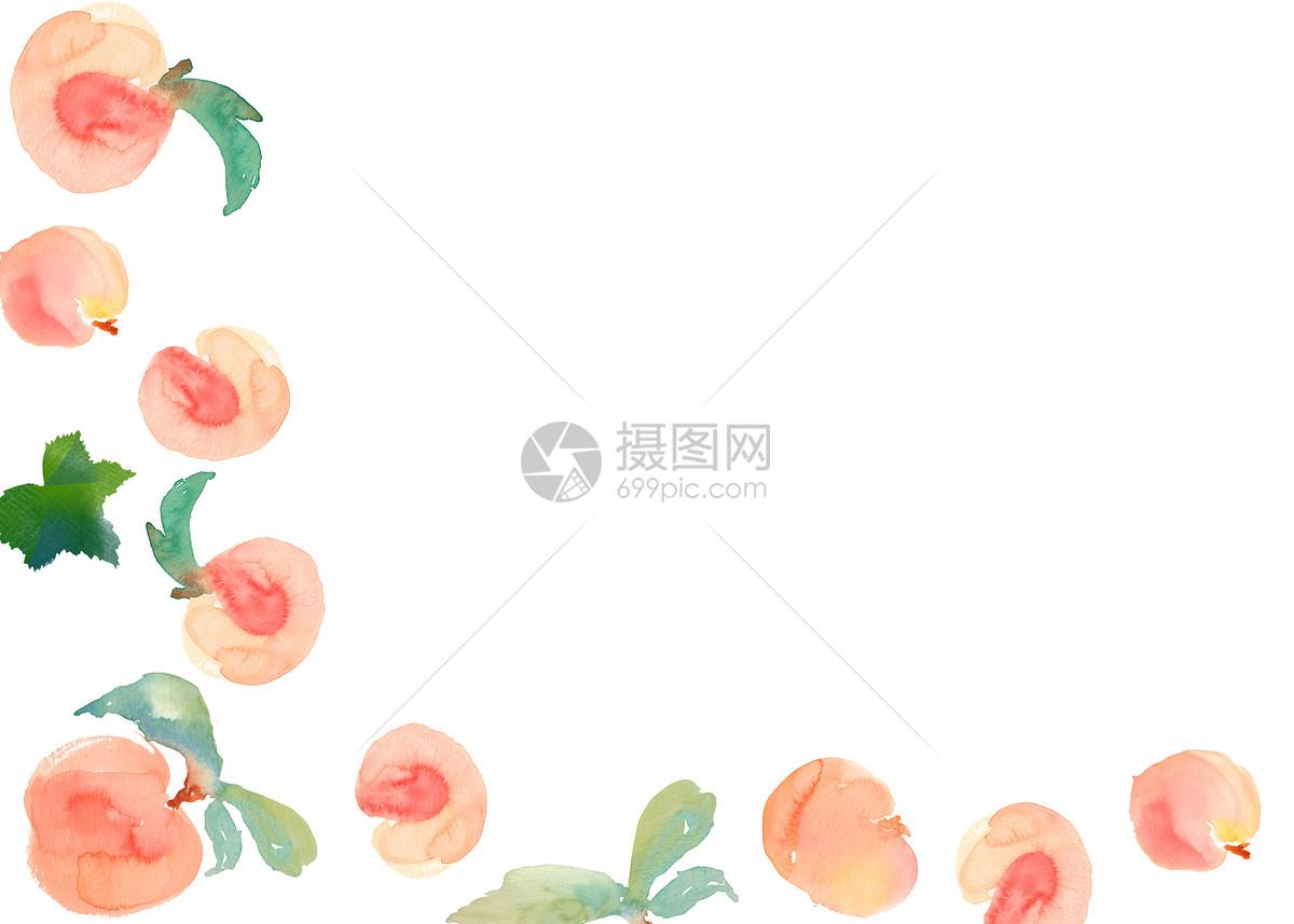 水蜜桃水彩手绘二分之一留白背景
