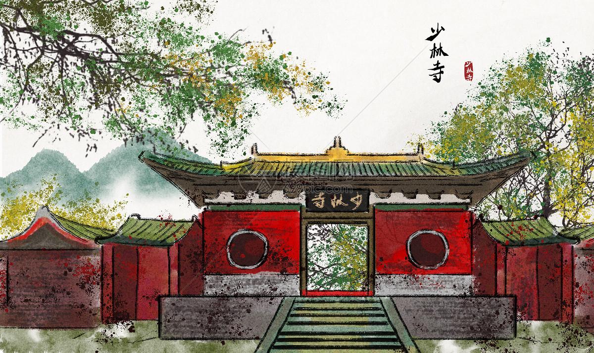 少林寺水墨画图片