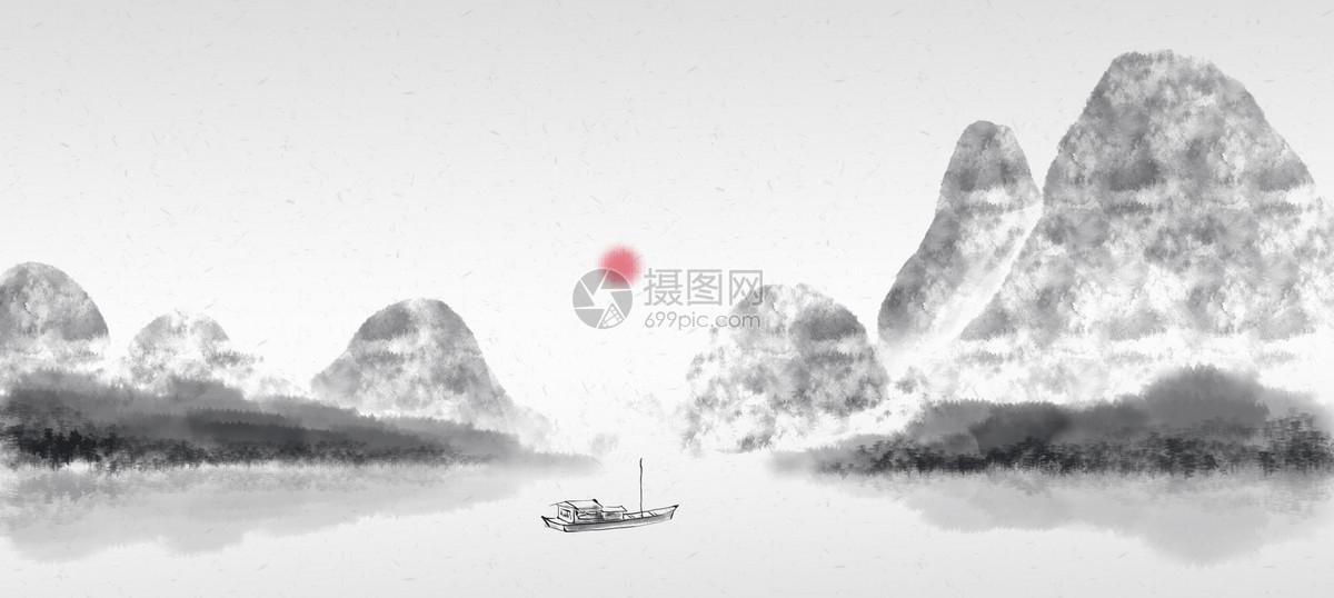 山水中国风水墨画背景图片