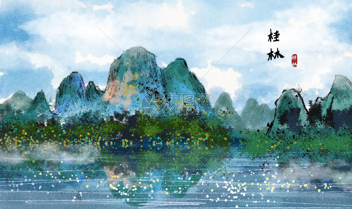 桂林水墨画图片