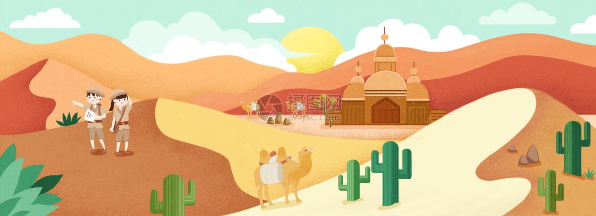 沙漠背景矢量图