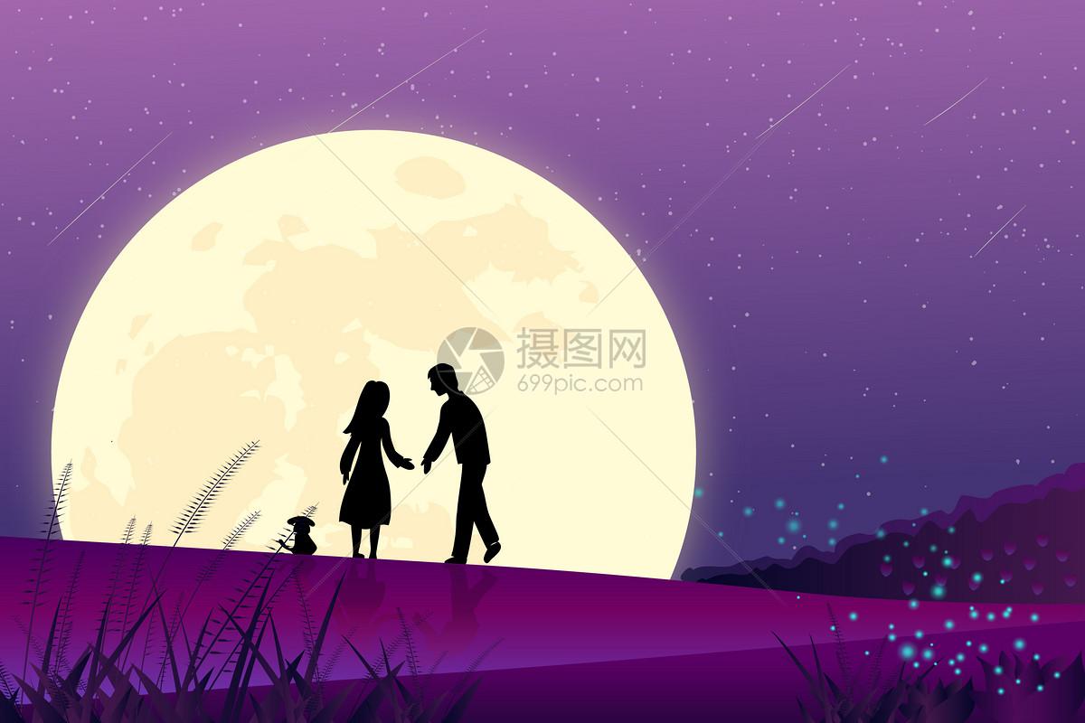 在月下浪漫约会图片