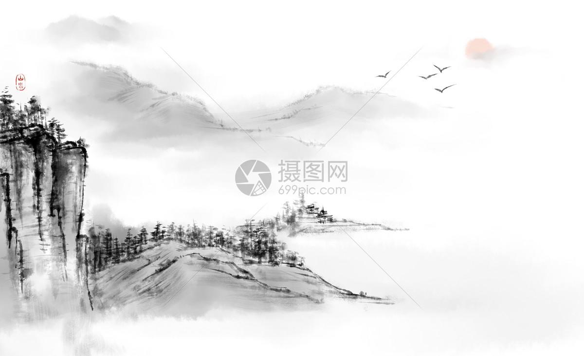 中国古风水墨风景