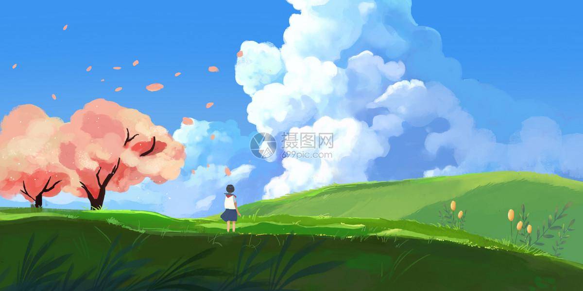 夏祭日系插画图片