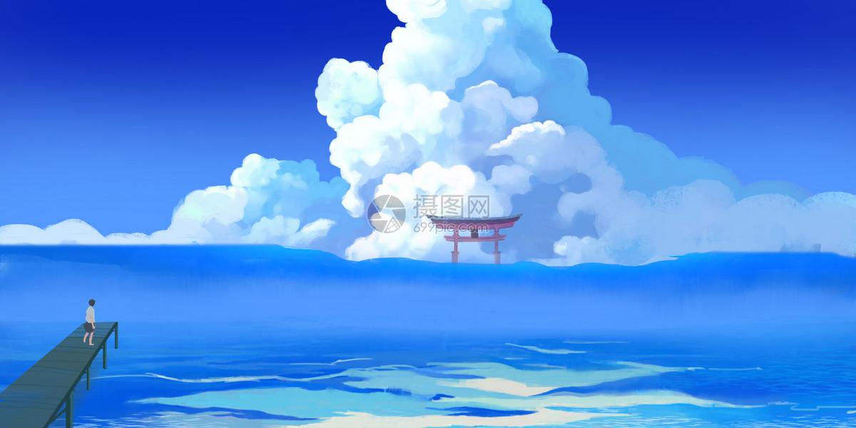 大海唯美插画图片
