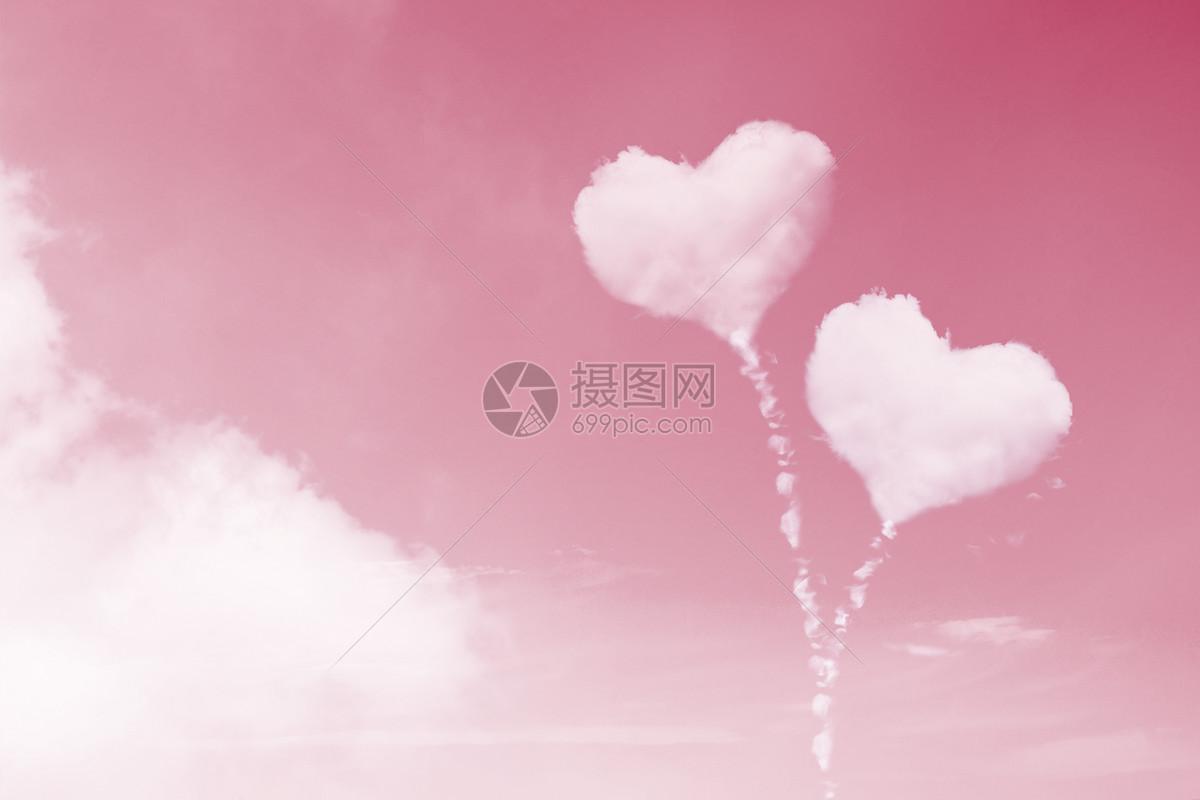 浪漫粉色心形云朵图片