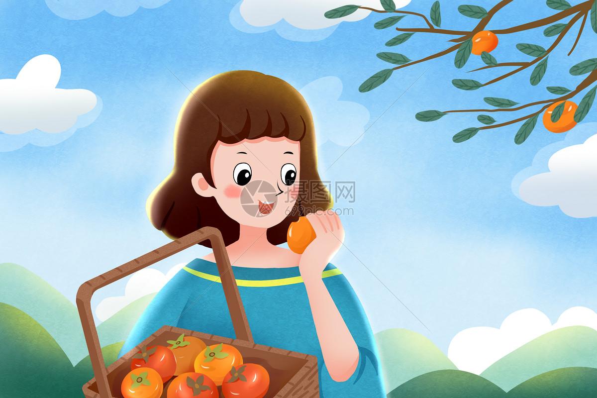 吃柿子的女孩图片
