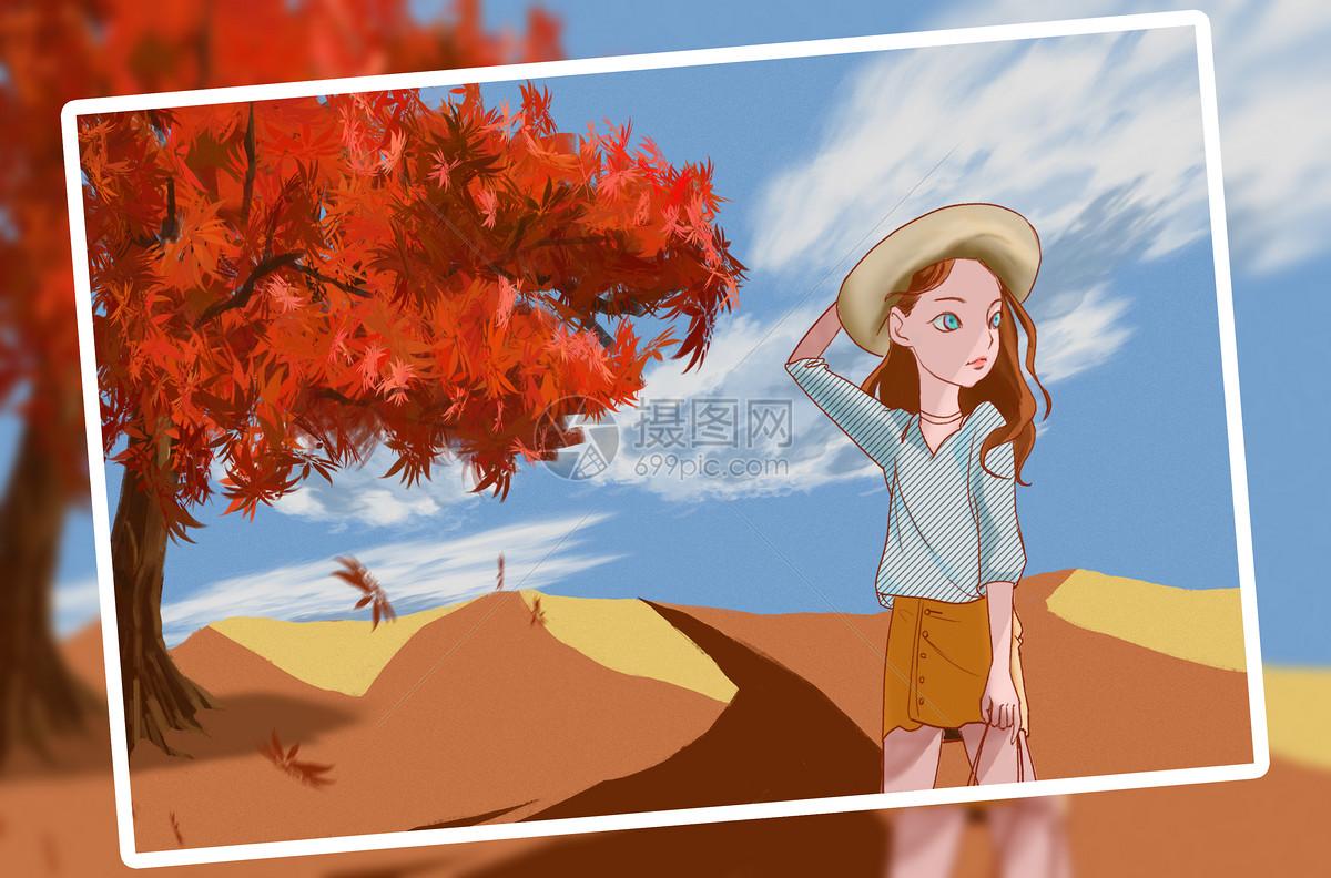 秋天里的小女孩图片