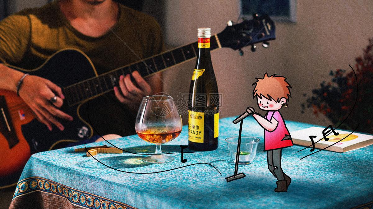 现场弹唱创意摄影插画图片