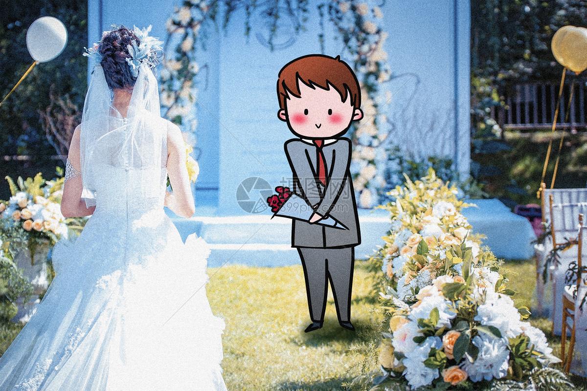 婚礼现场创意摄影插画图片
