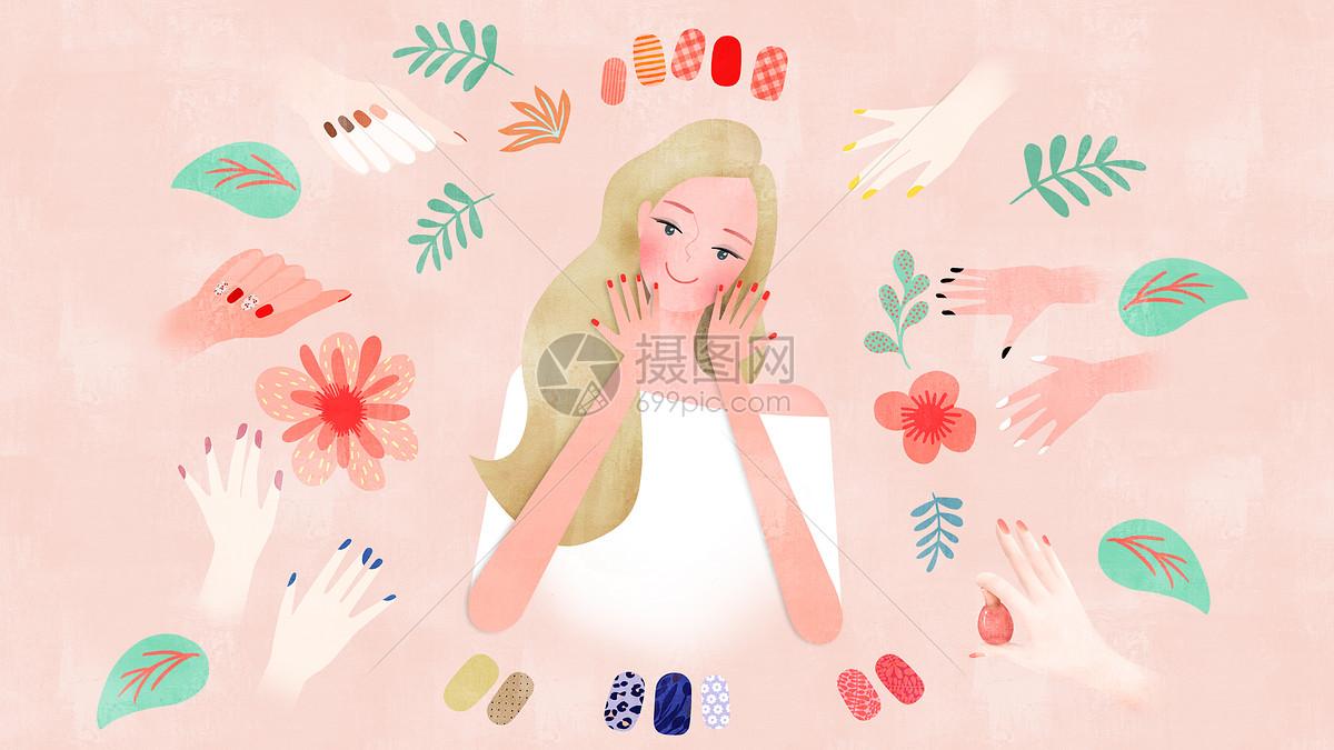 清新风美女美甲时尚插画图片