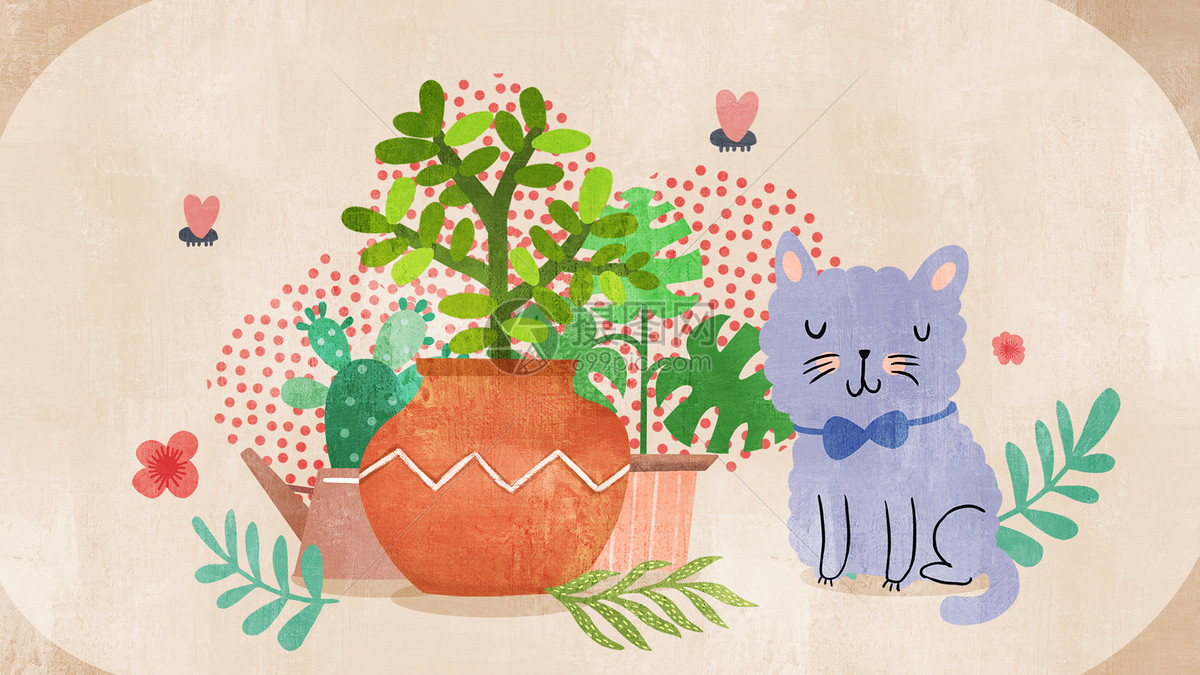 棕色简约风小清新植物花盆猫咪插画图片