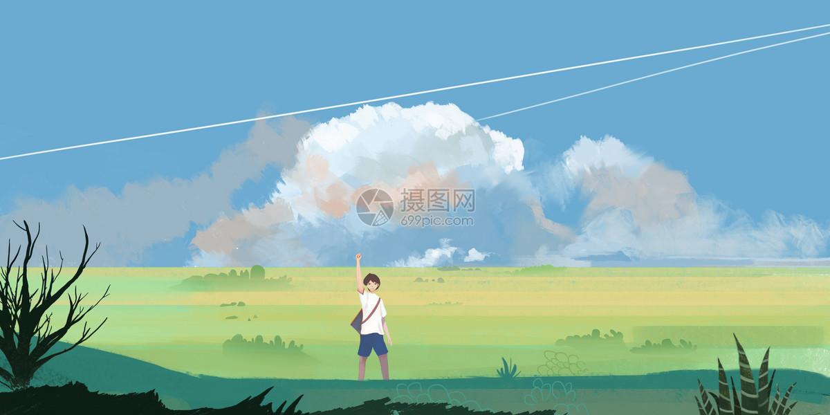 草原季节插画图片