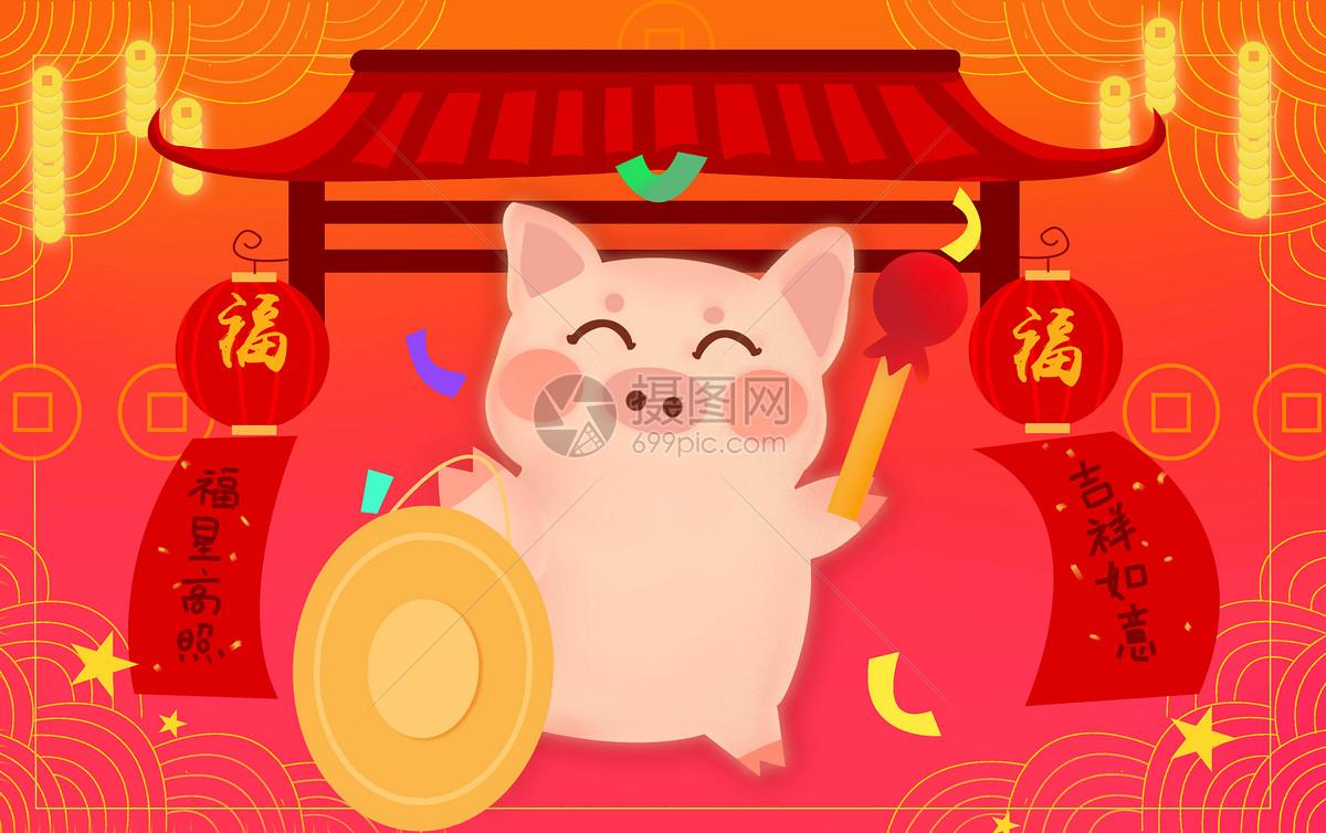 金猪敲锣图片