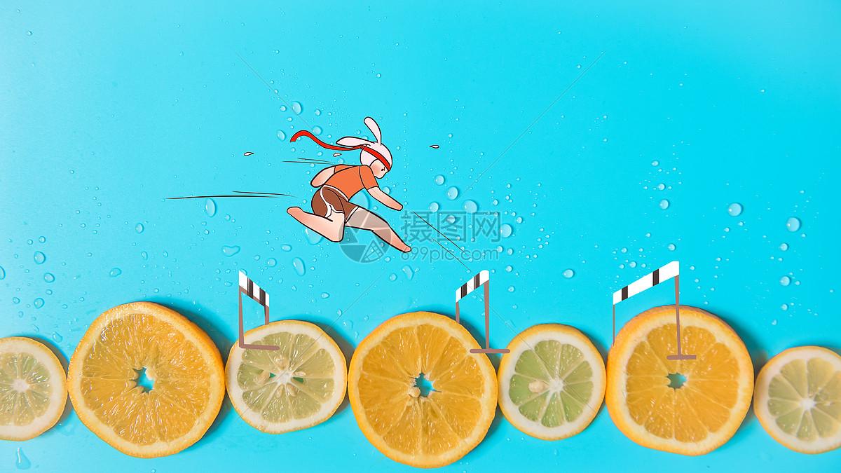跨栏运动员创意配图图片