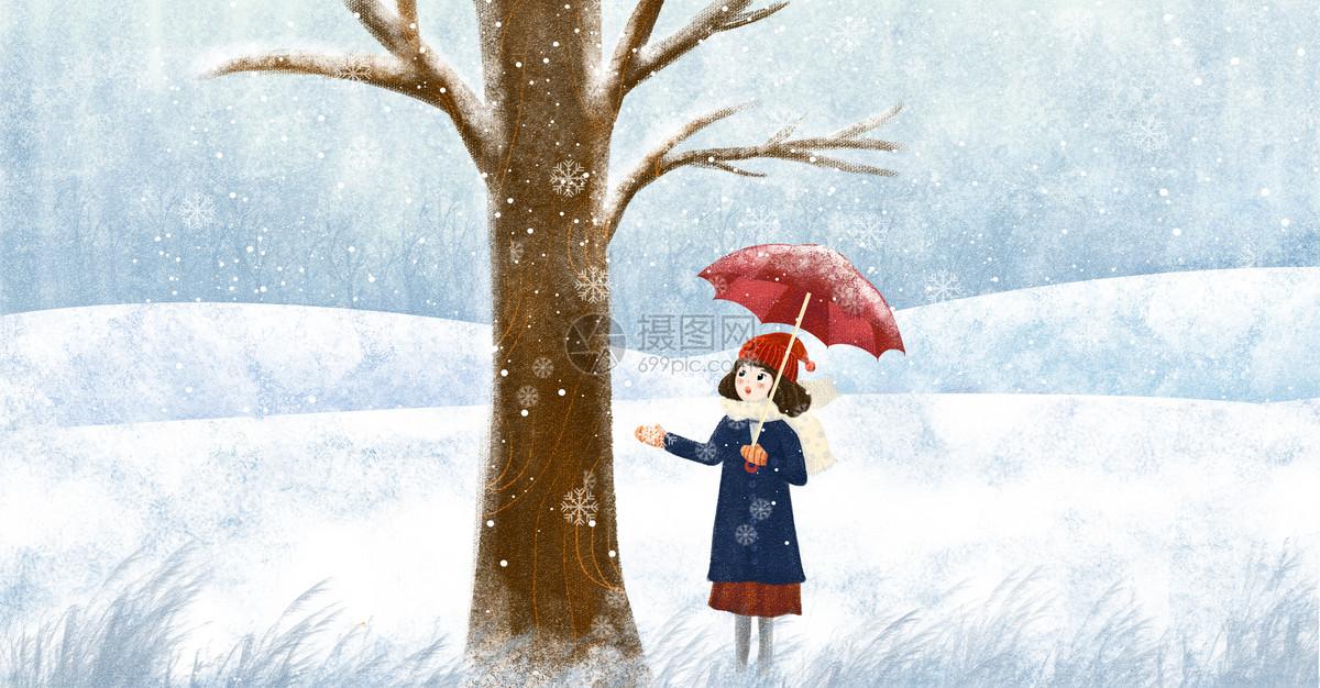雪地里的女孩图片