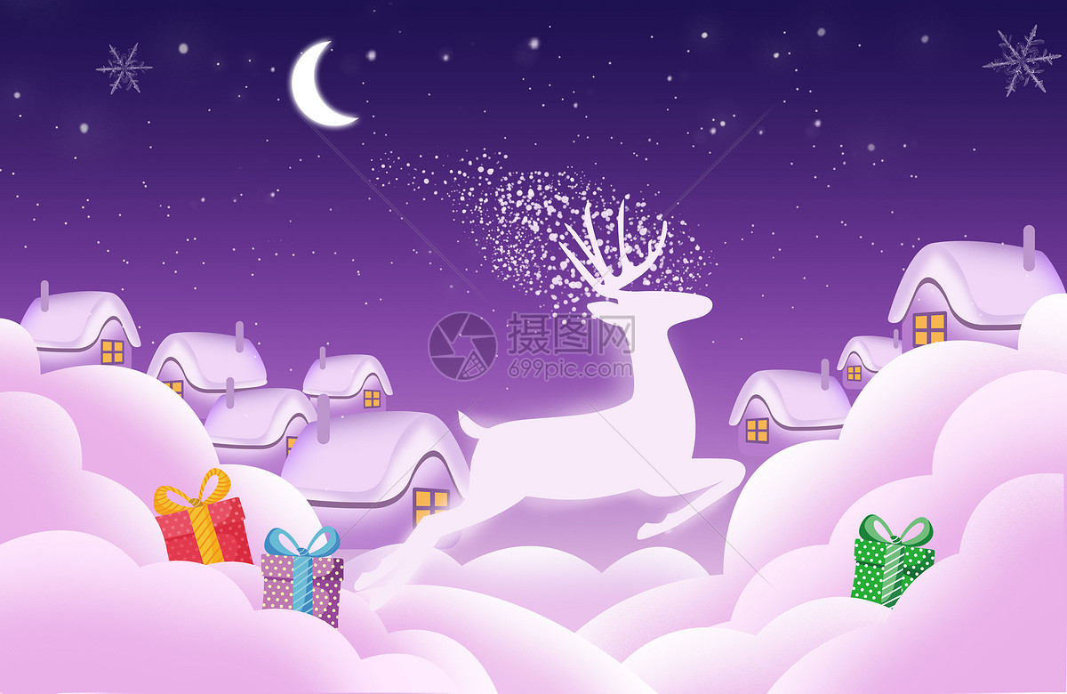 圣诞节送礼物图片