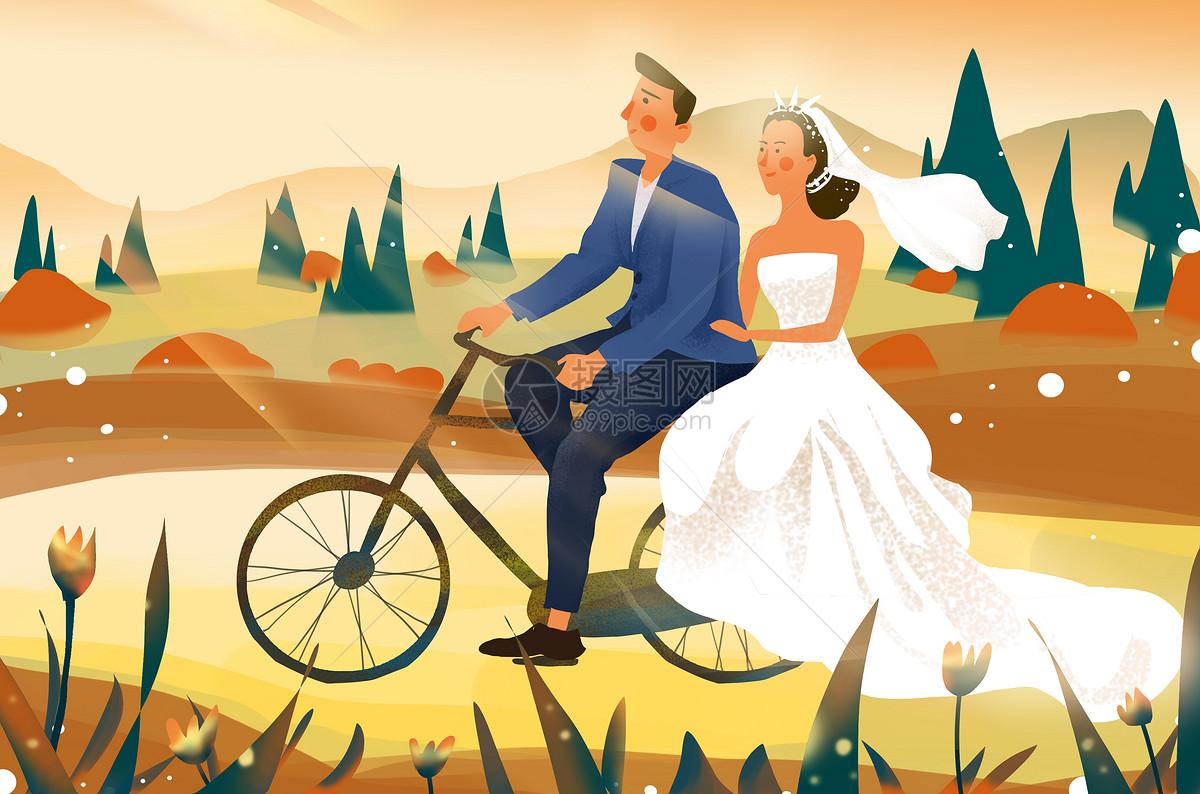 秋天骑自行车结婚插画图片