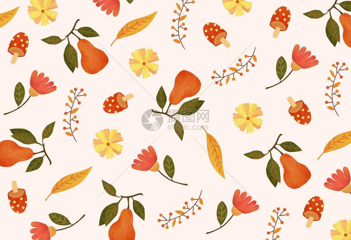 复古秋天果实花朵背景图片