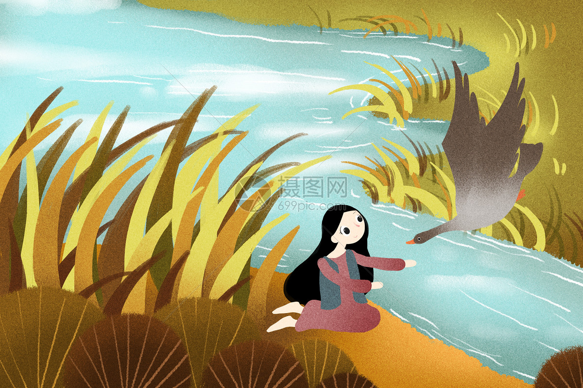 河边秋景图片