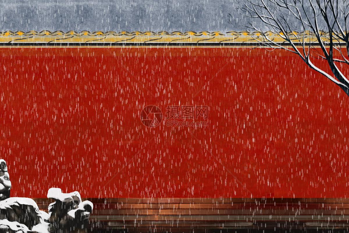 雪中宫墙图片