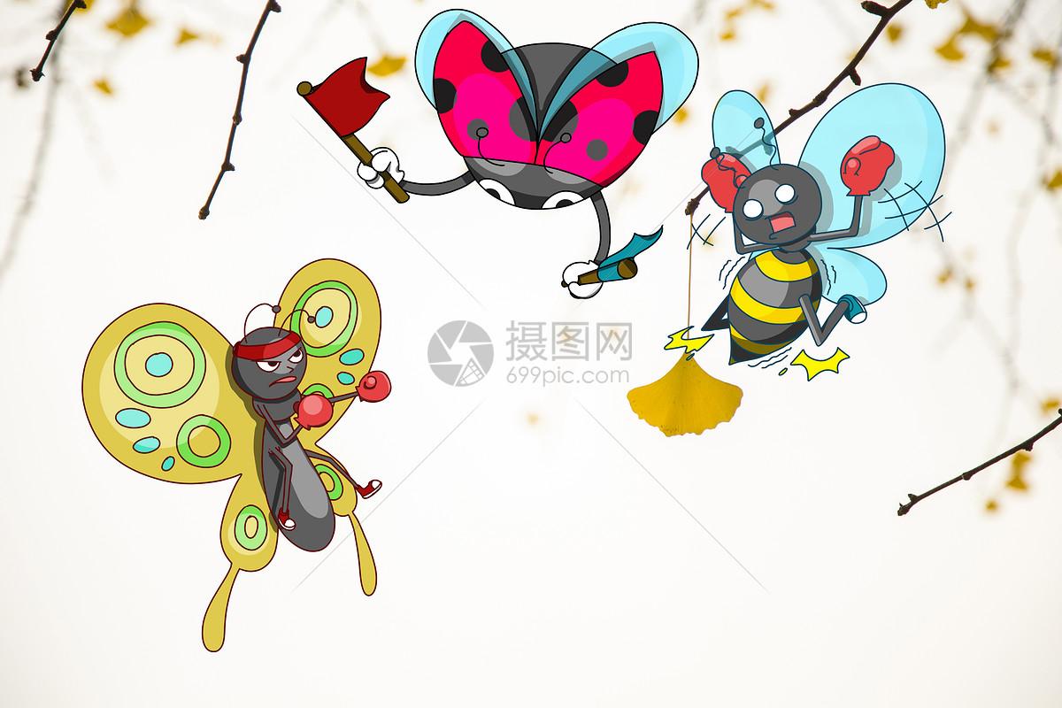 蜜蜂和蝴蝶比赛图片