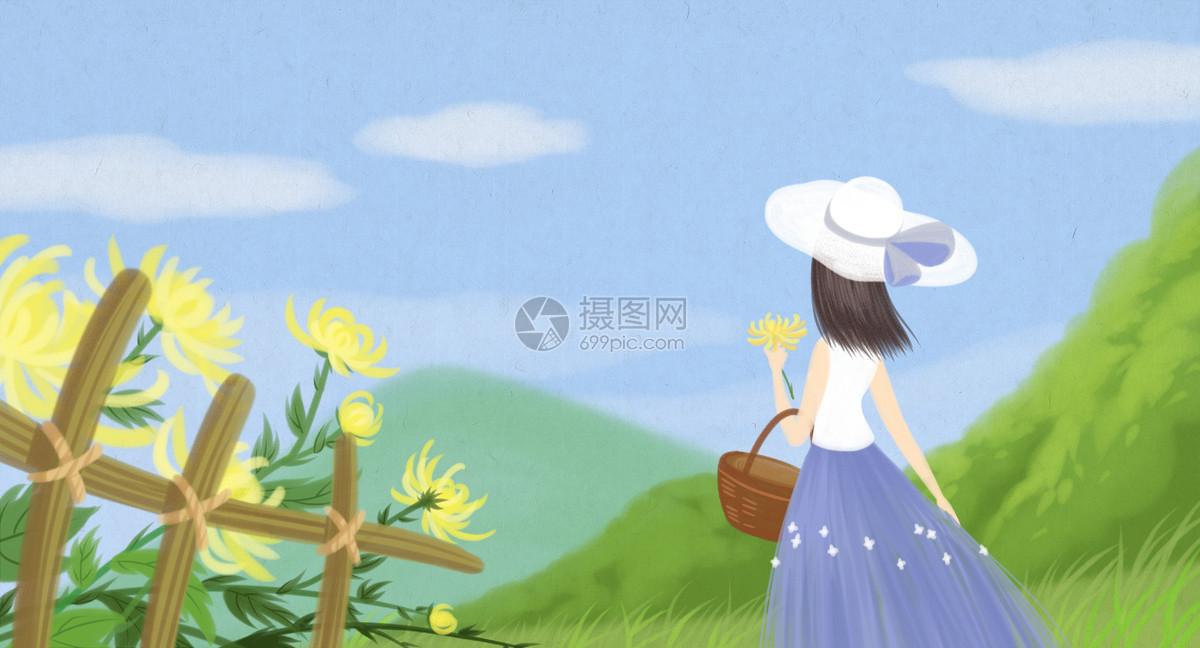 采菊东篱图片