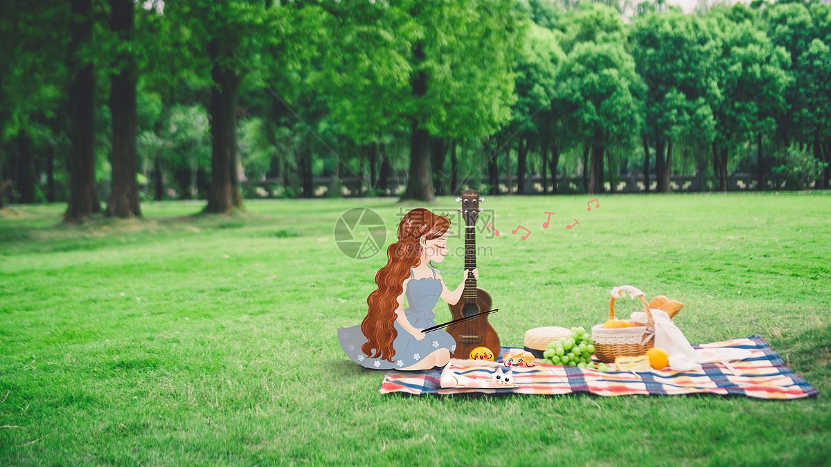 野餐时拉琴的女孩图片