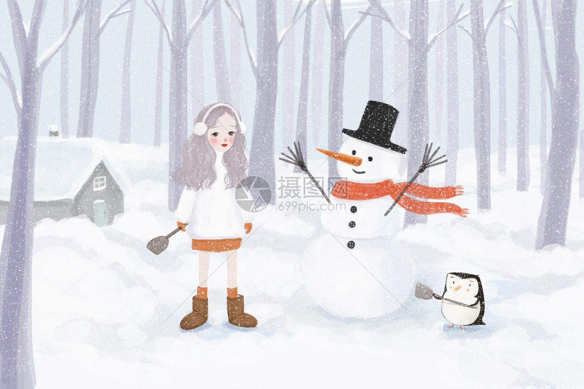 堆雪人图片