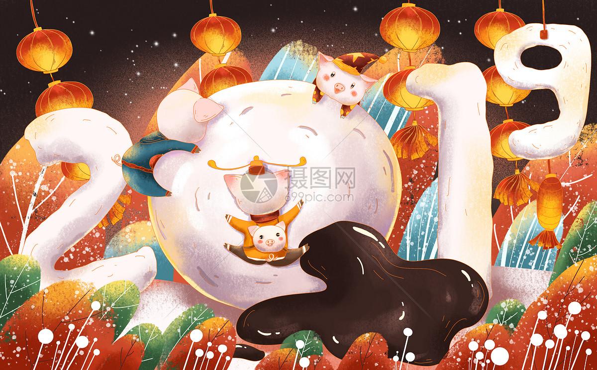 猪年元宵节图片