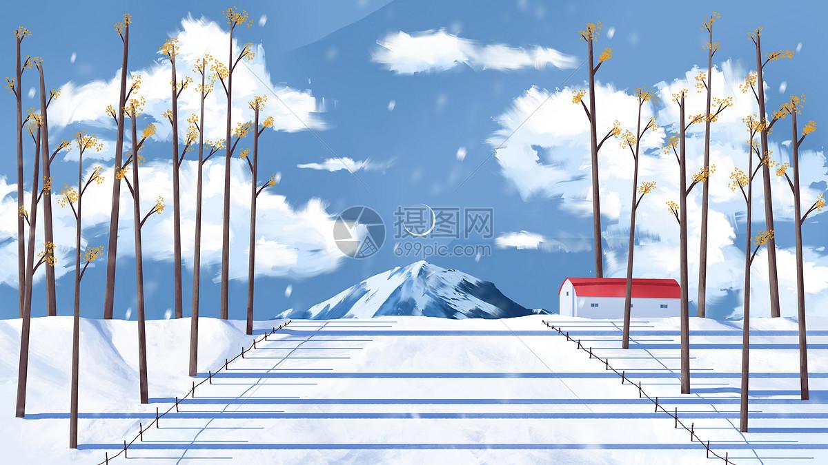 雪山下的冬日风景图片