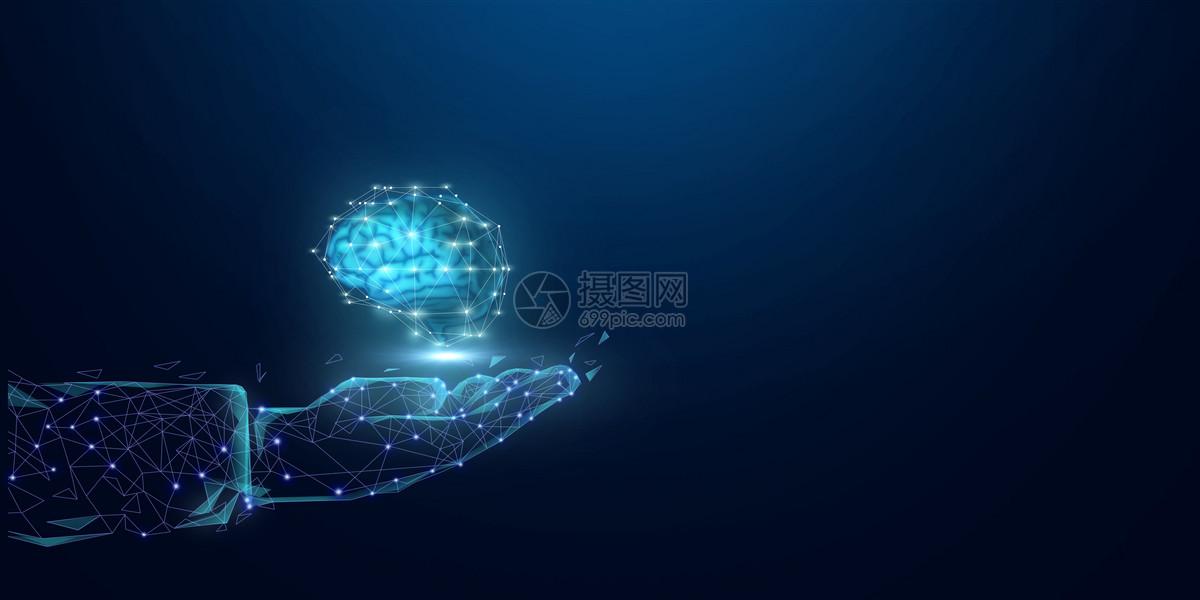 科技手捧大脑背景图片