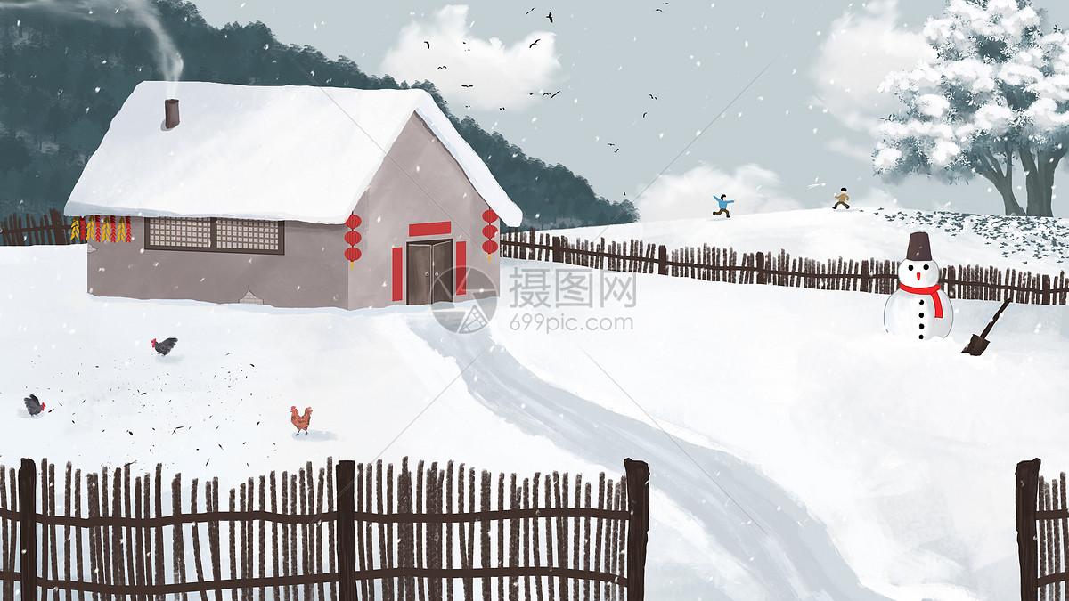 雪地村庄图片