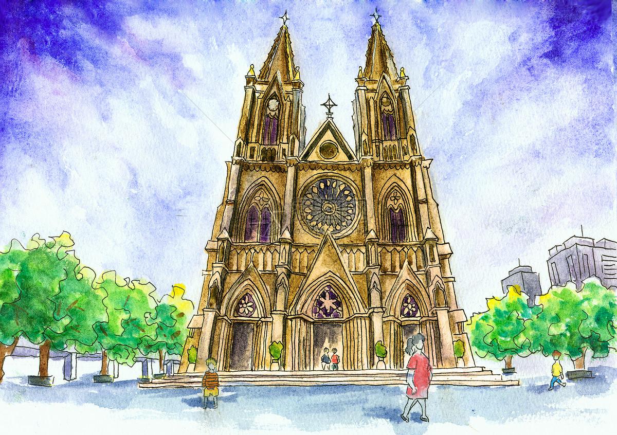 广州石室圣心大教堂水彩插画手绘图片