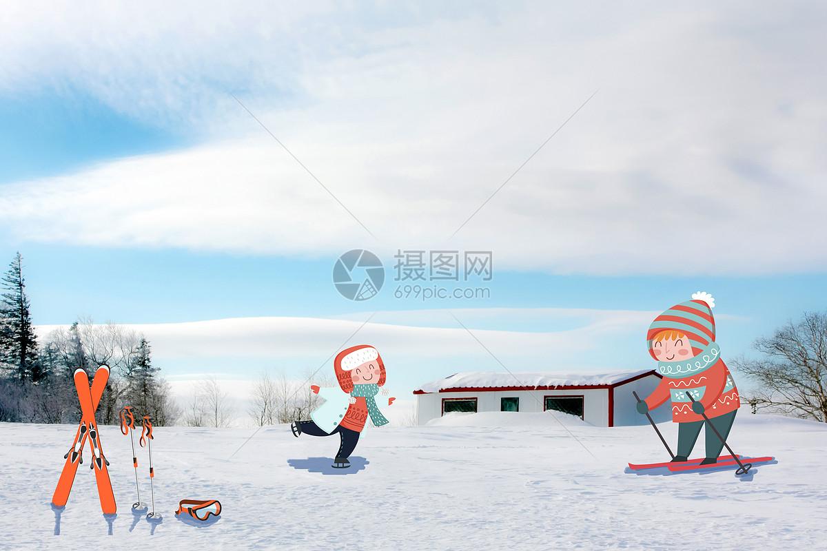 可爱搞怪雪地滑雪的孩子们图片