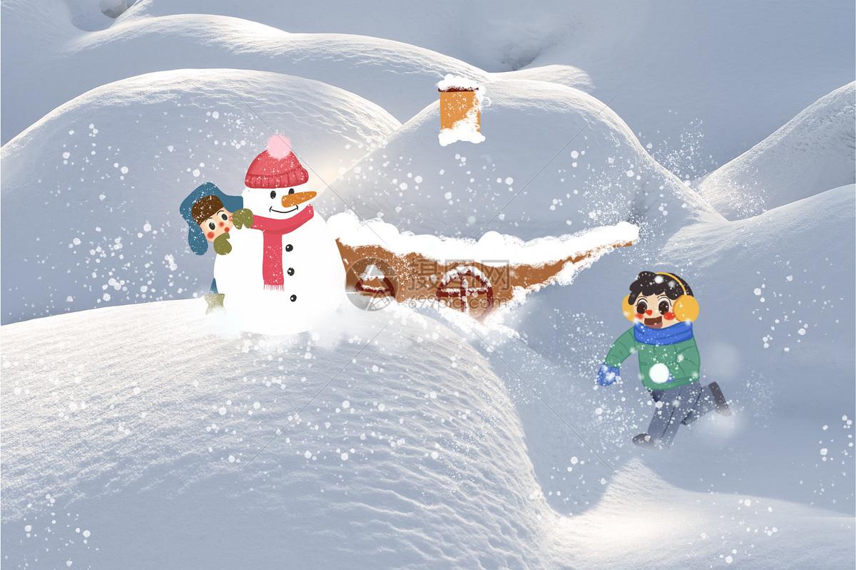 雪创意插画图片