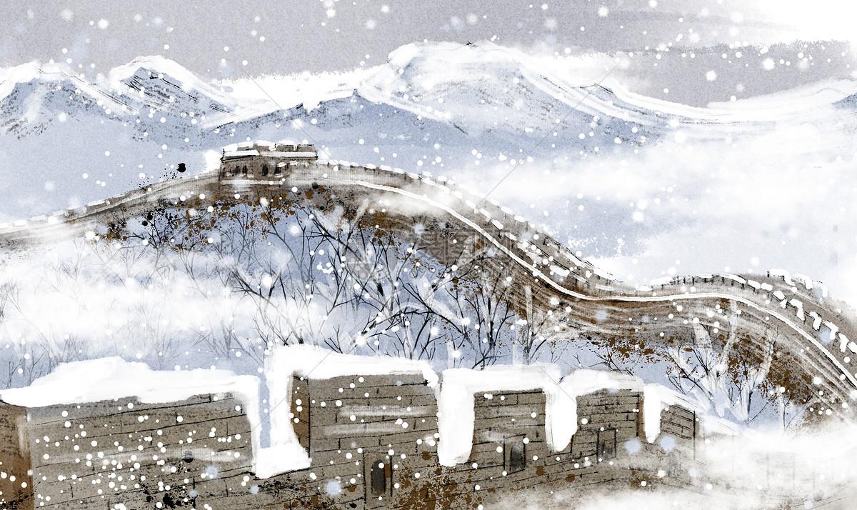 长城雪景图片
