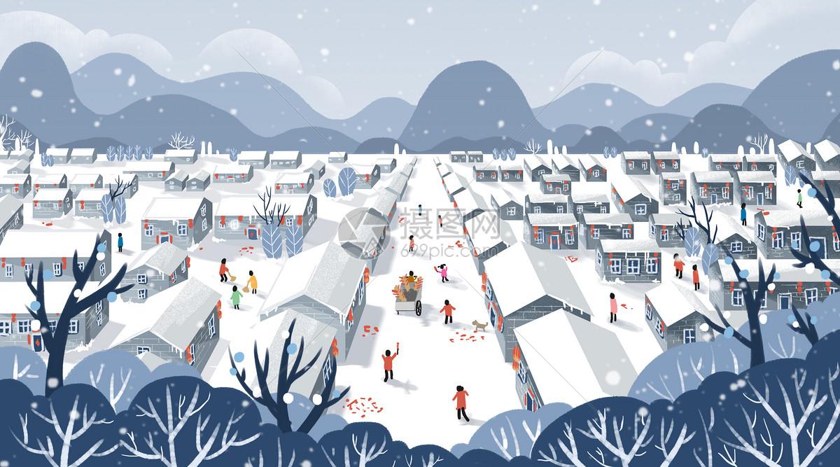 积雪小镇图片