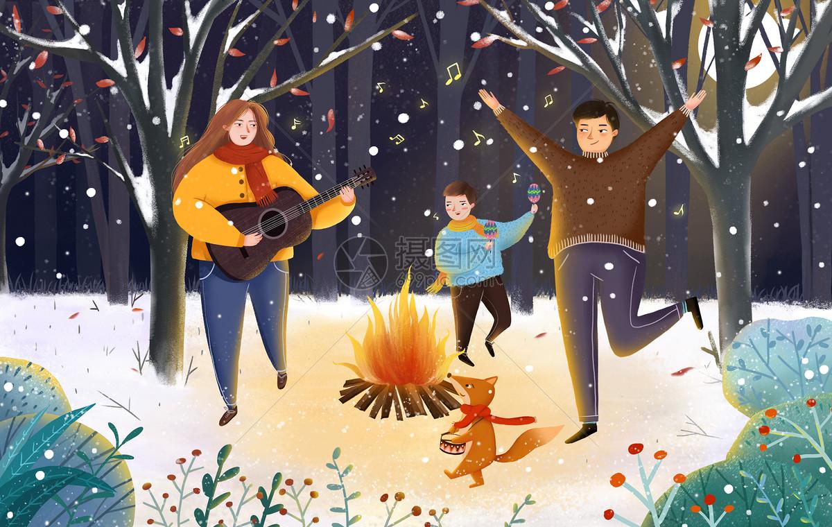 冬天篝火图片