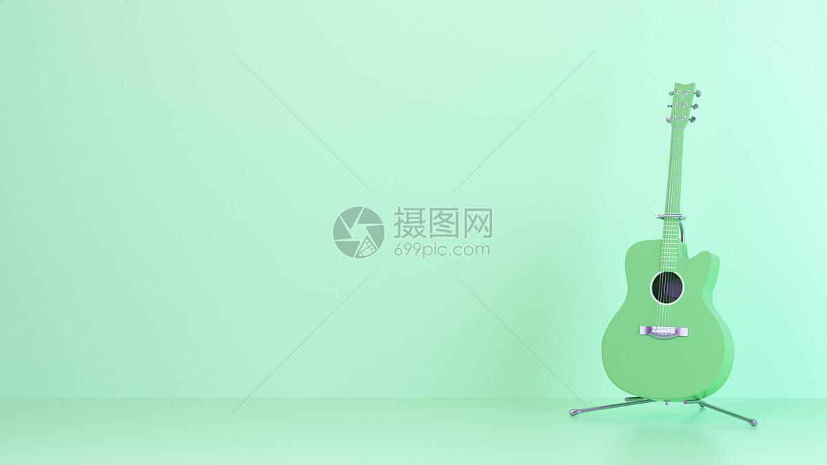 创意绿色吉他图片