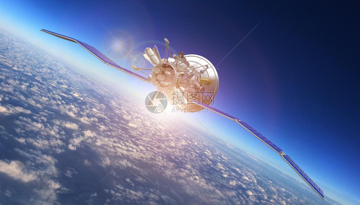 卫星环绕地球图片