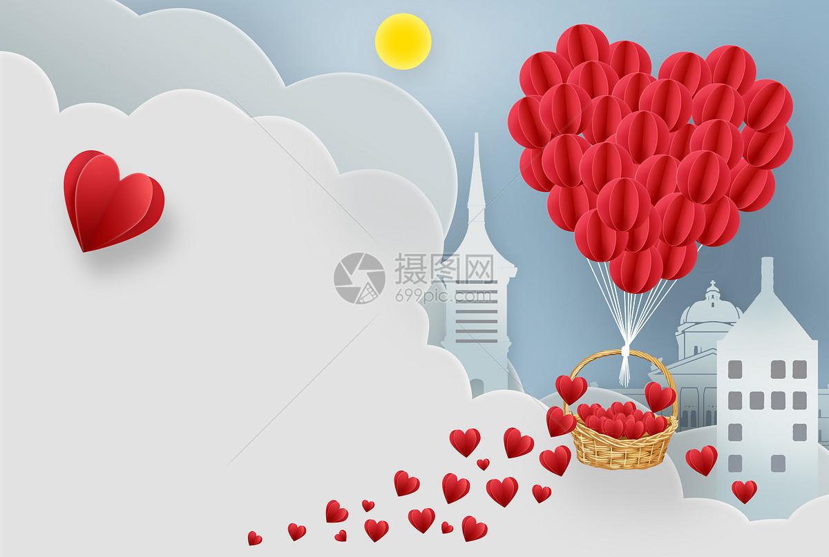 浪漫爱心漂浮图片
