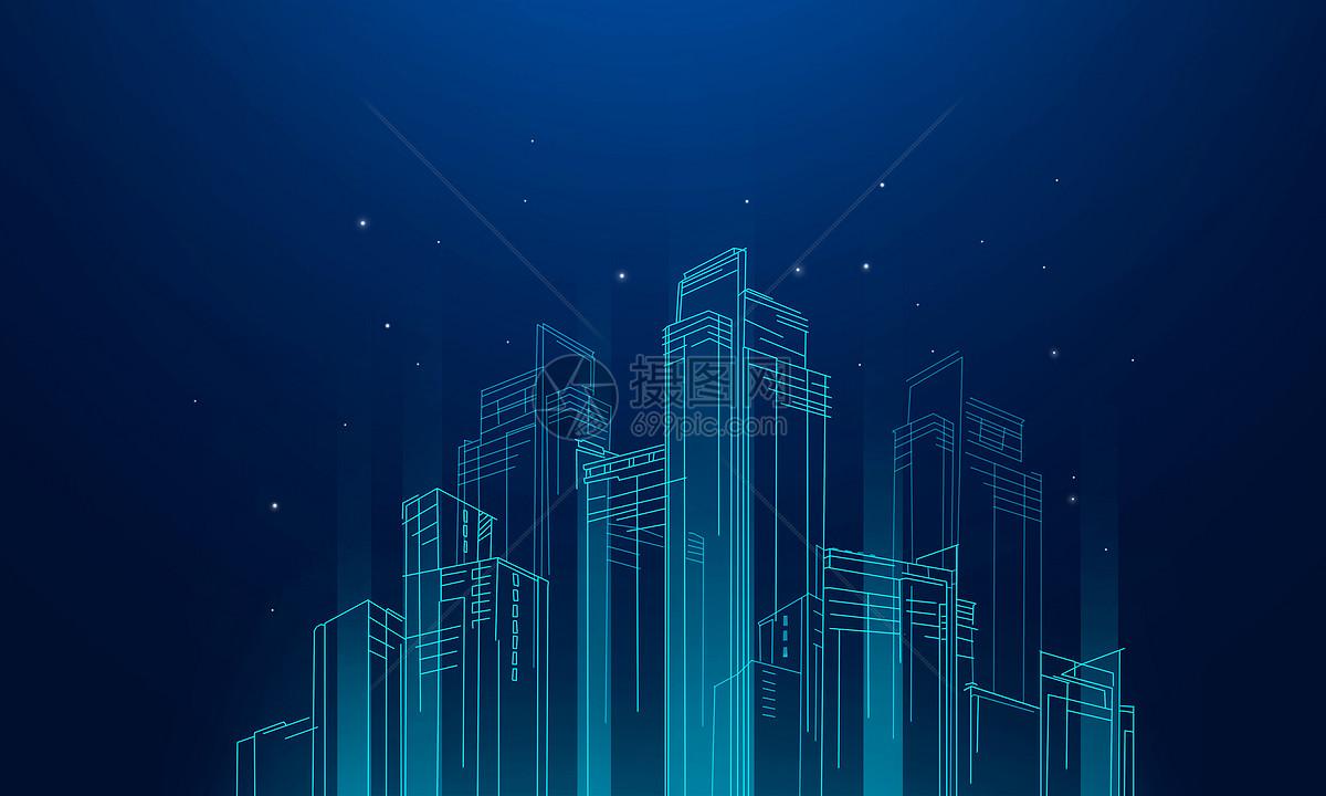 城市线条科技图片