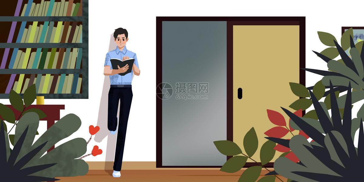 男孩靠墙看书图片