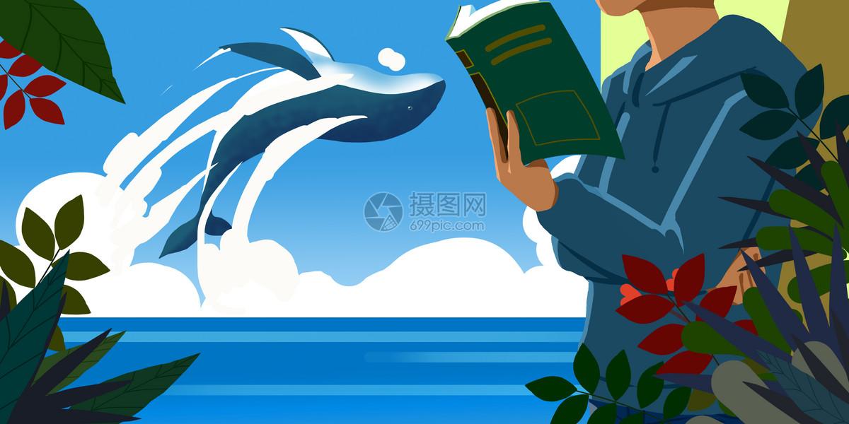 男孩海边读书图片