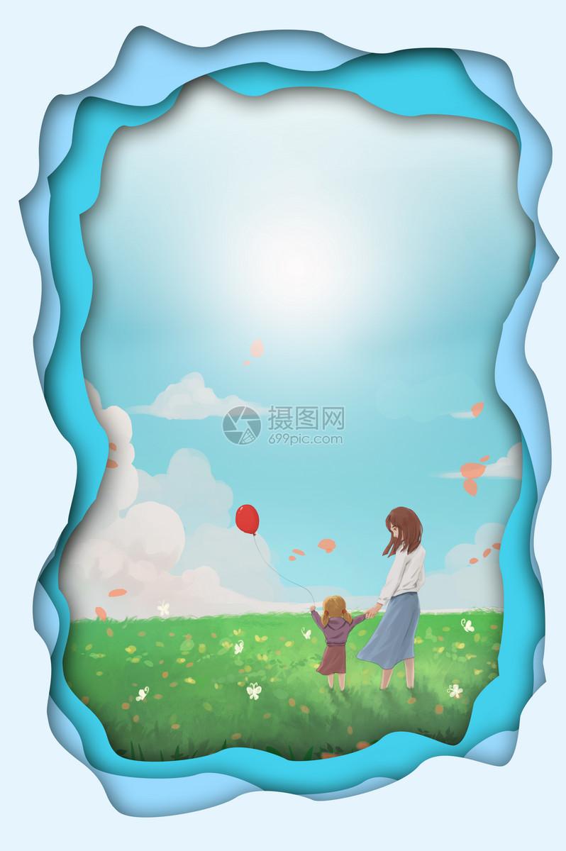 蓝色剪纸风春天背景图片