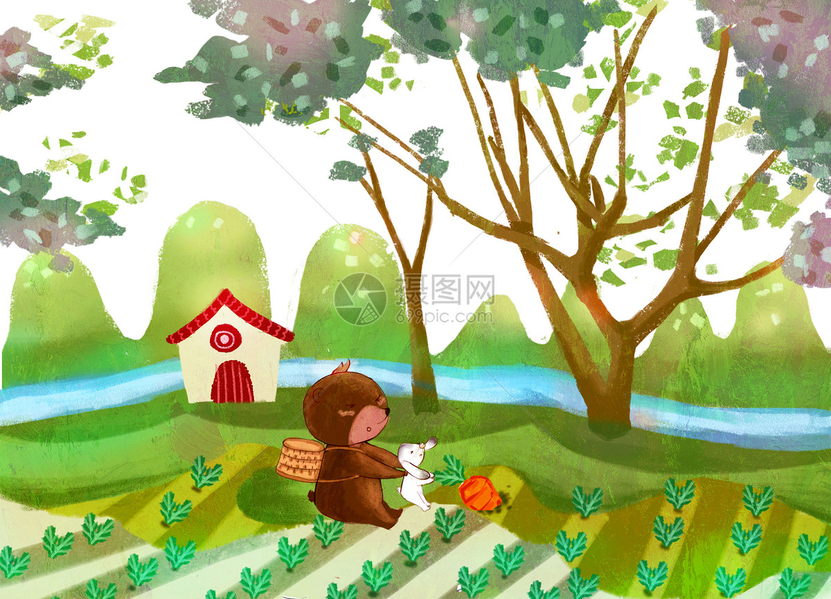 兔子和熊种田图片