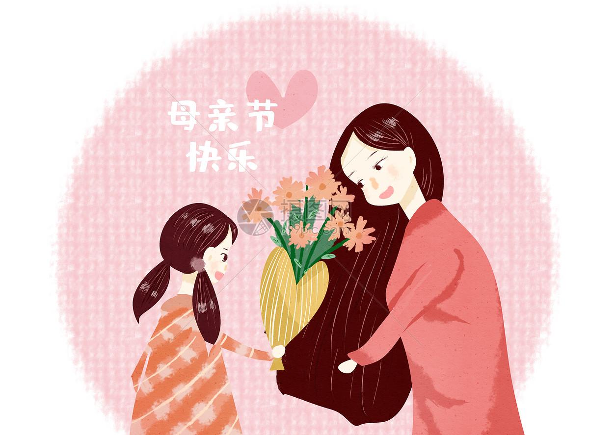 幸福的母女图片