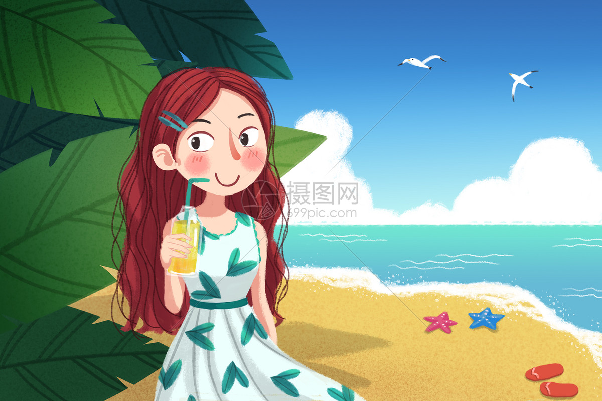夏日海边美女插画图片